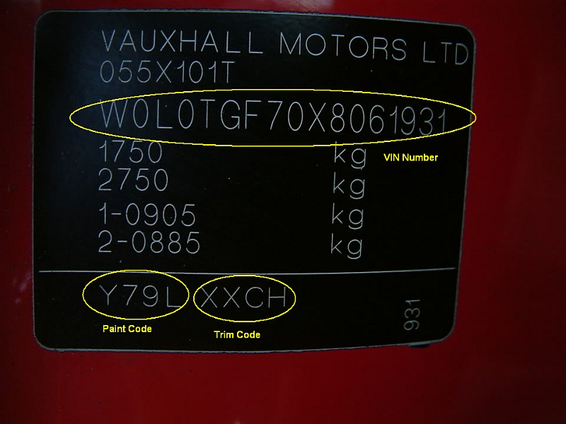 Vauxhall Car Paint Codes